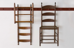 Shaker ladder back chairs on pegboard
