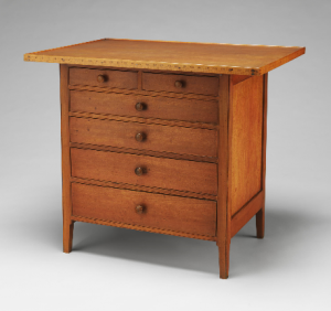 Shaker work table with measuring stick border -- Courtesy of Metropolitan Museum of Art